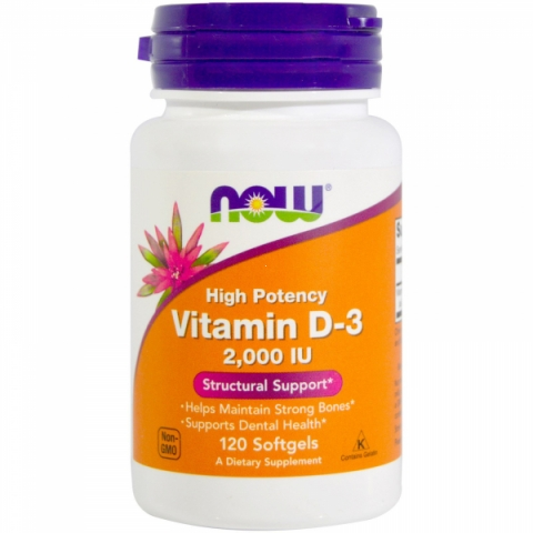 NOW Foods Vitamin D-3 2000 IU NOW 120 гелевых капсул