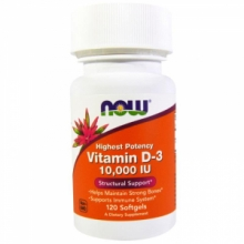 NOW Foods Vitamin D-3 10000 IU NOW 120 гелевых капсул